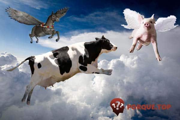 Animales volando en el cielo